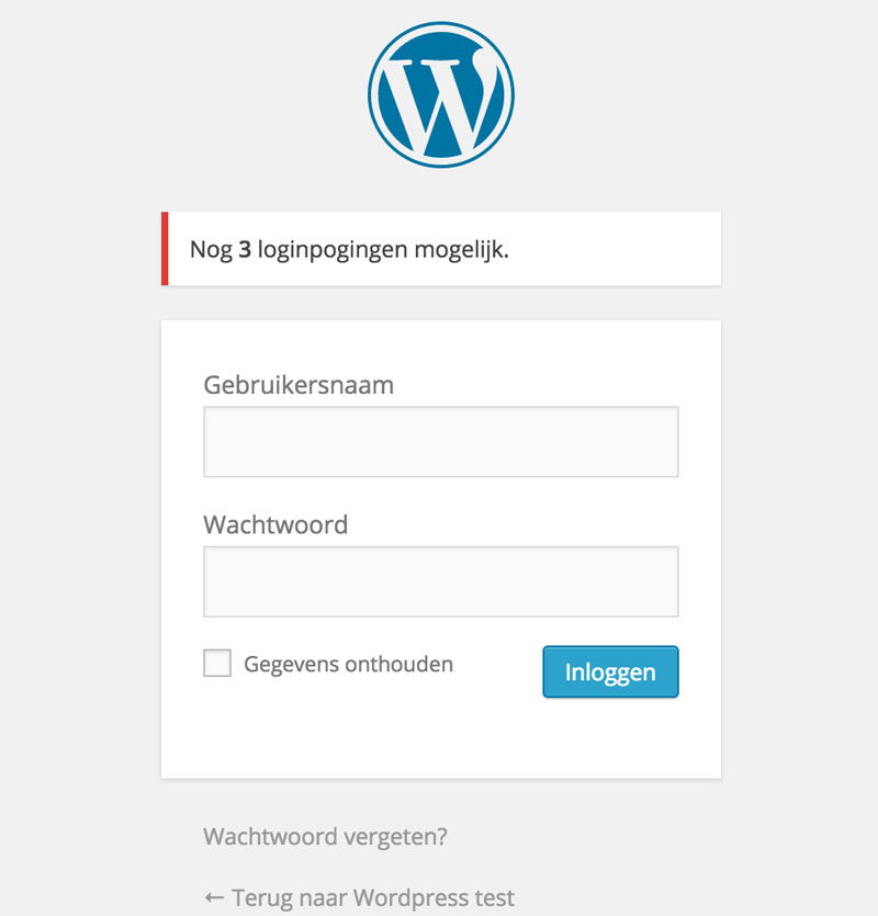 Wordpress login scherm